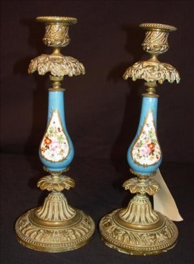 Pair of Sevres candle sticks, blue with roses -  11 in.