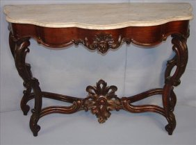 Rococo Console Table, Rosewood With White Marble Top -