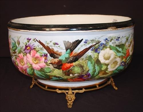 Old Paris center bowl, painted with birds, flowers and