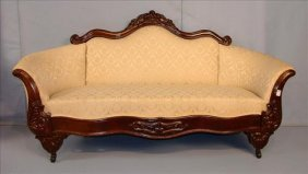 Victorian sofa, walnut with beige upholstery, folded