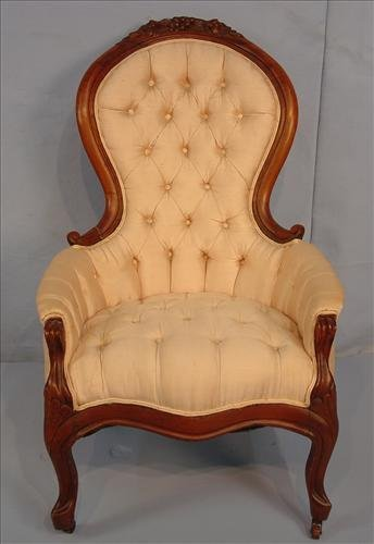 Ladies parlor chair, walnut Victorian, beige upholstery