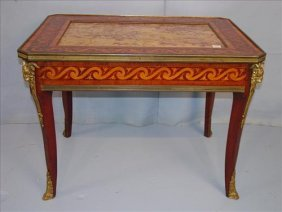 French Inlayed Coffee Table, With Bronze Mounts And