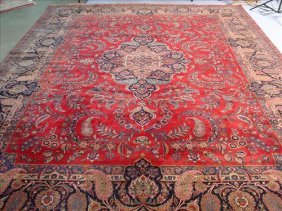 Antique Persian rug, signed by maker, deep red and blue