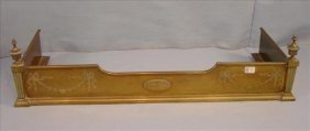 Fireplace fender, brass Victorian with lace and bows -