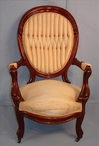 Gentleman's parlor arm chair, beige upholstery, finger