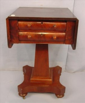 Drop leaf work table, mahogany Empire with two drawers