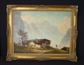 Oil on canvas of house in the Swiss Alps by Berghot