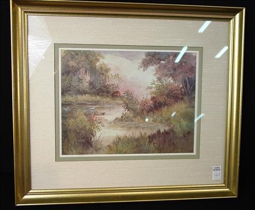 Contemporary water color of cabin and pond by M.