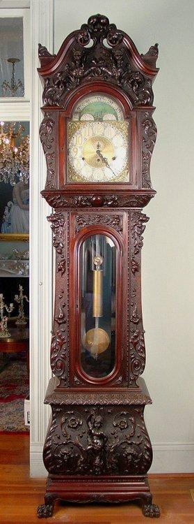 R.J. Horner grandfather clock,  mahogany, heavily
