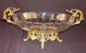 Heavy crystal center bowl Victorian French bronze
