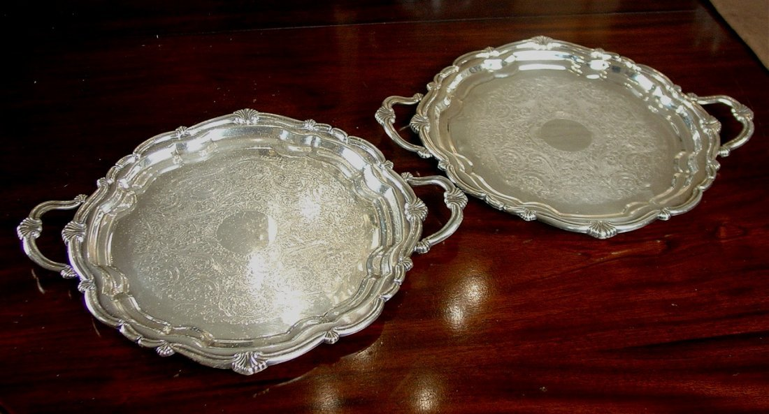 Pair of silver-plate service trays from Gray Gables,