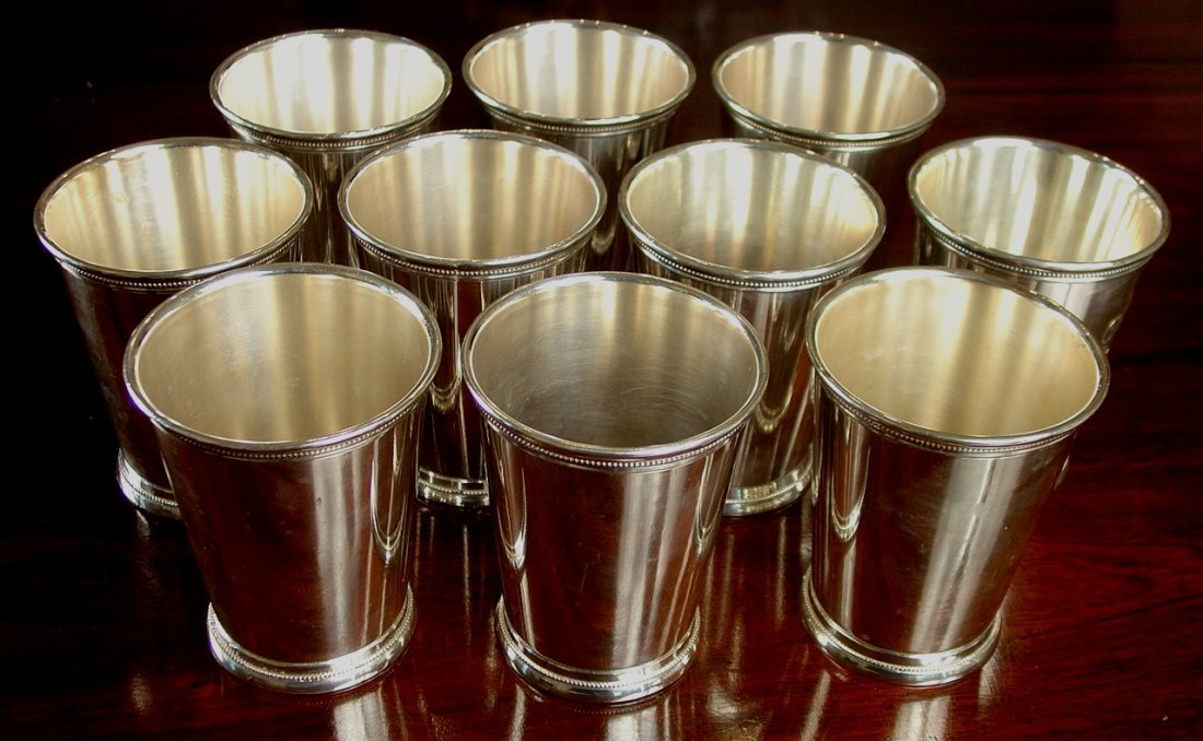 Silver-plate mint Julep cups, 6 pieces with mashers.
