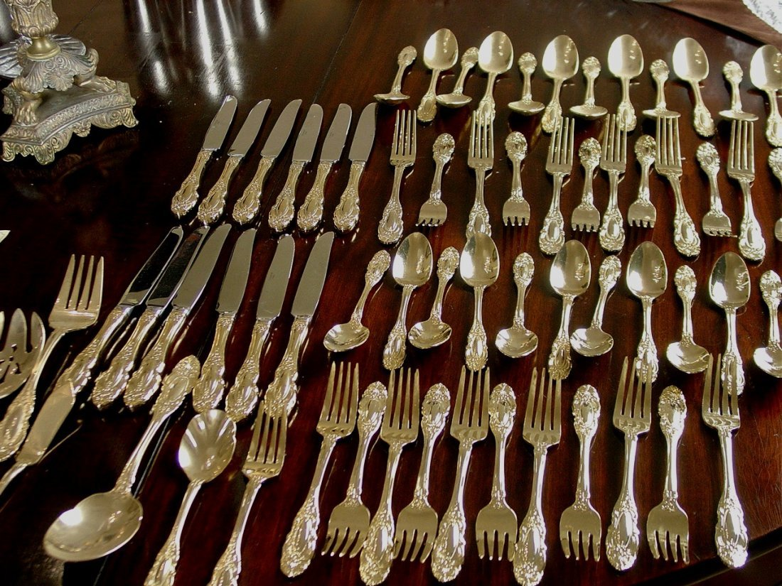 Towles gold flatware set, service for 12, hardly used.