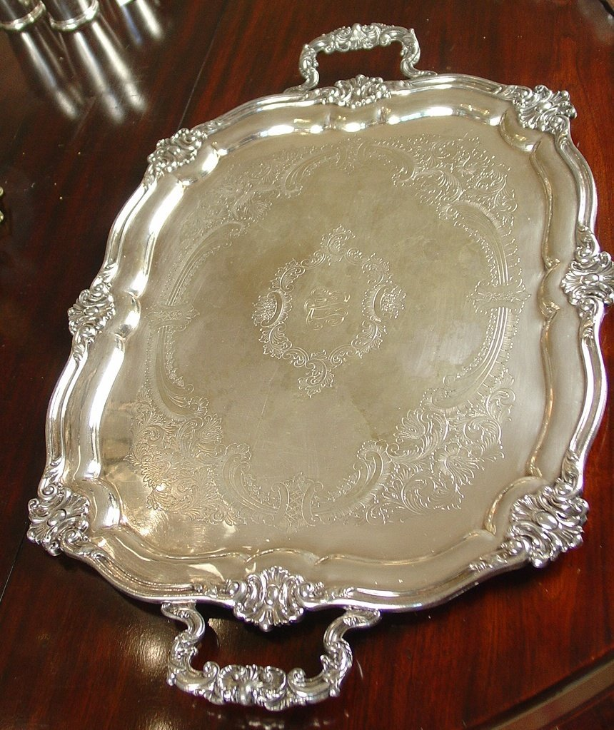 Serving tray, silver over cooper with ornate handles