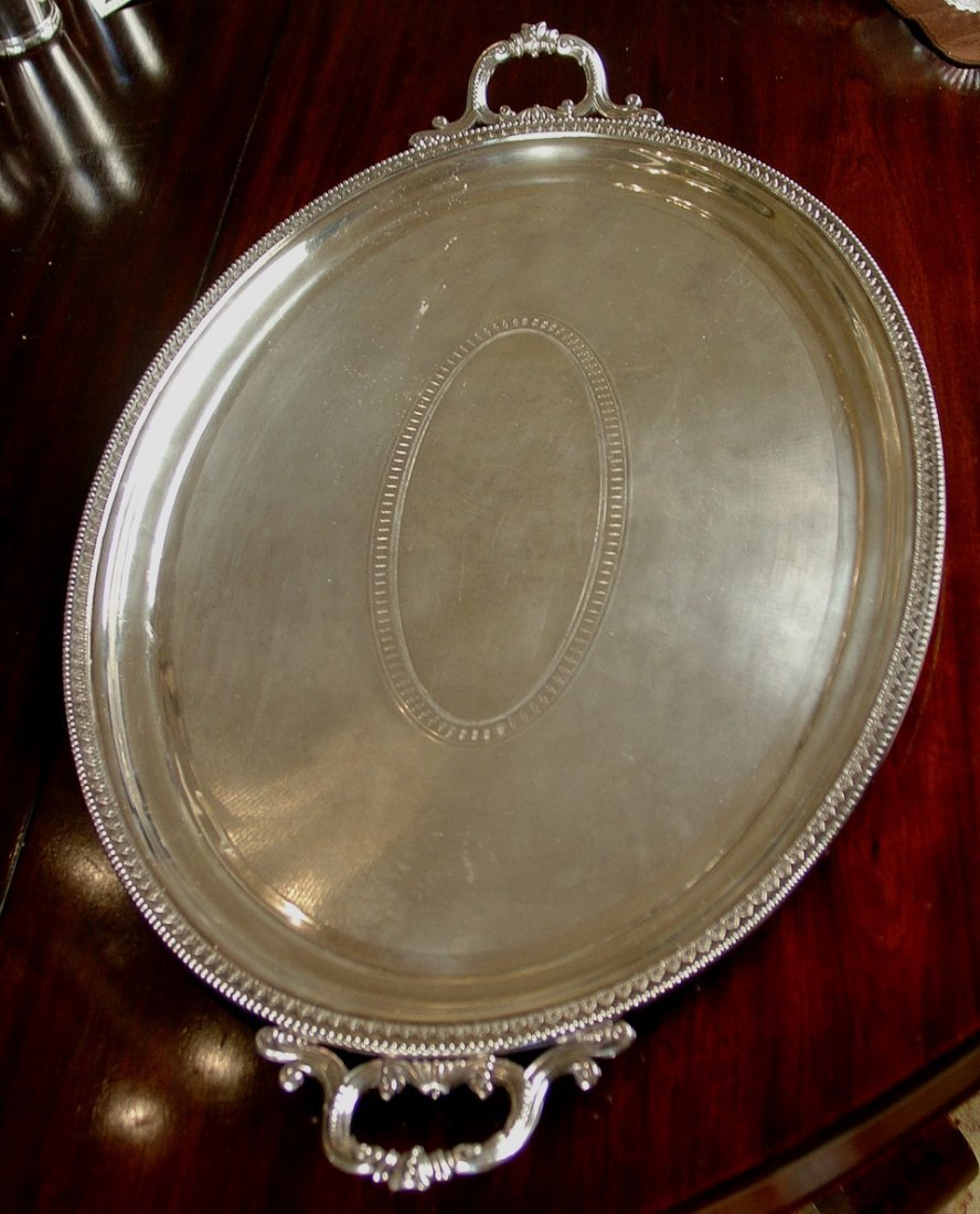 Silver over copper serving tray from Gray Gables,