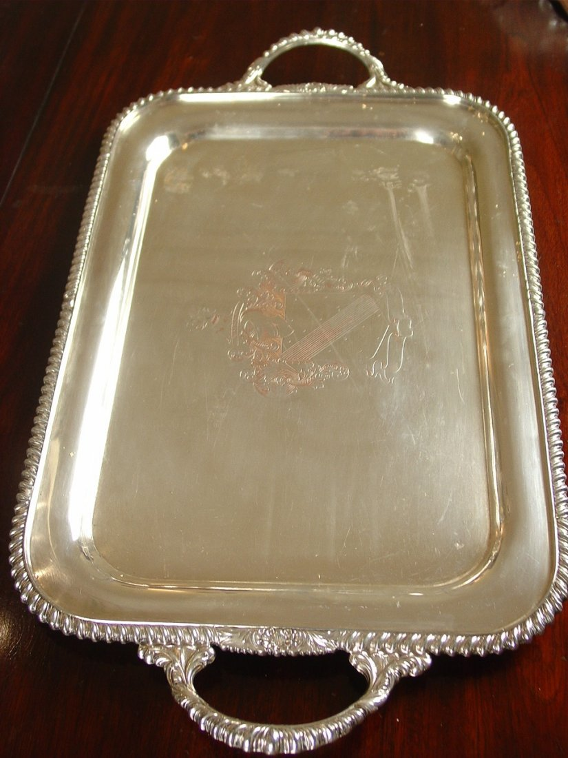 Silver over copper engraved serving tray with handles
