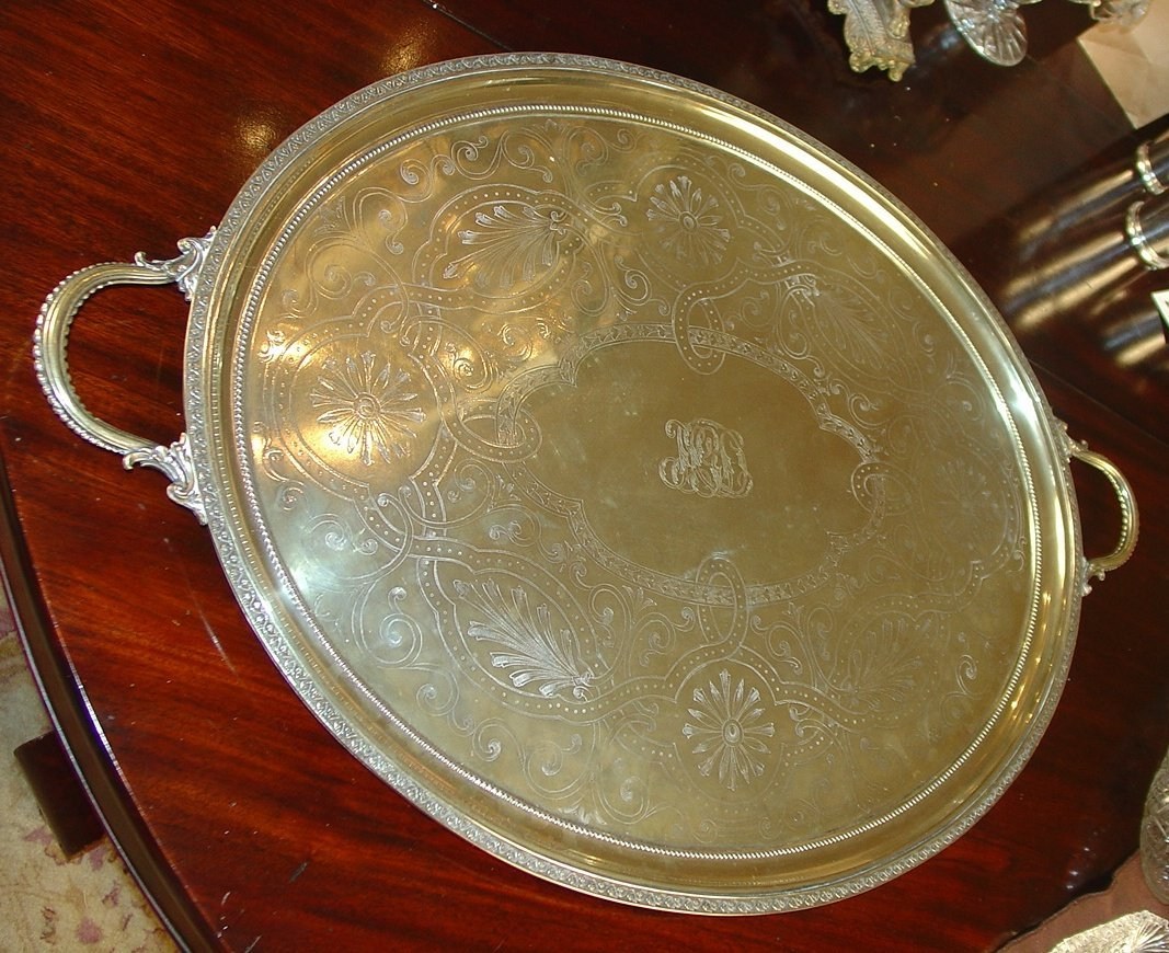 Victorian silver-plate serving trays, ca.1899, butters