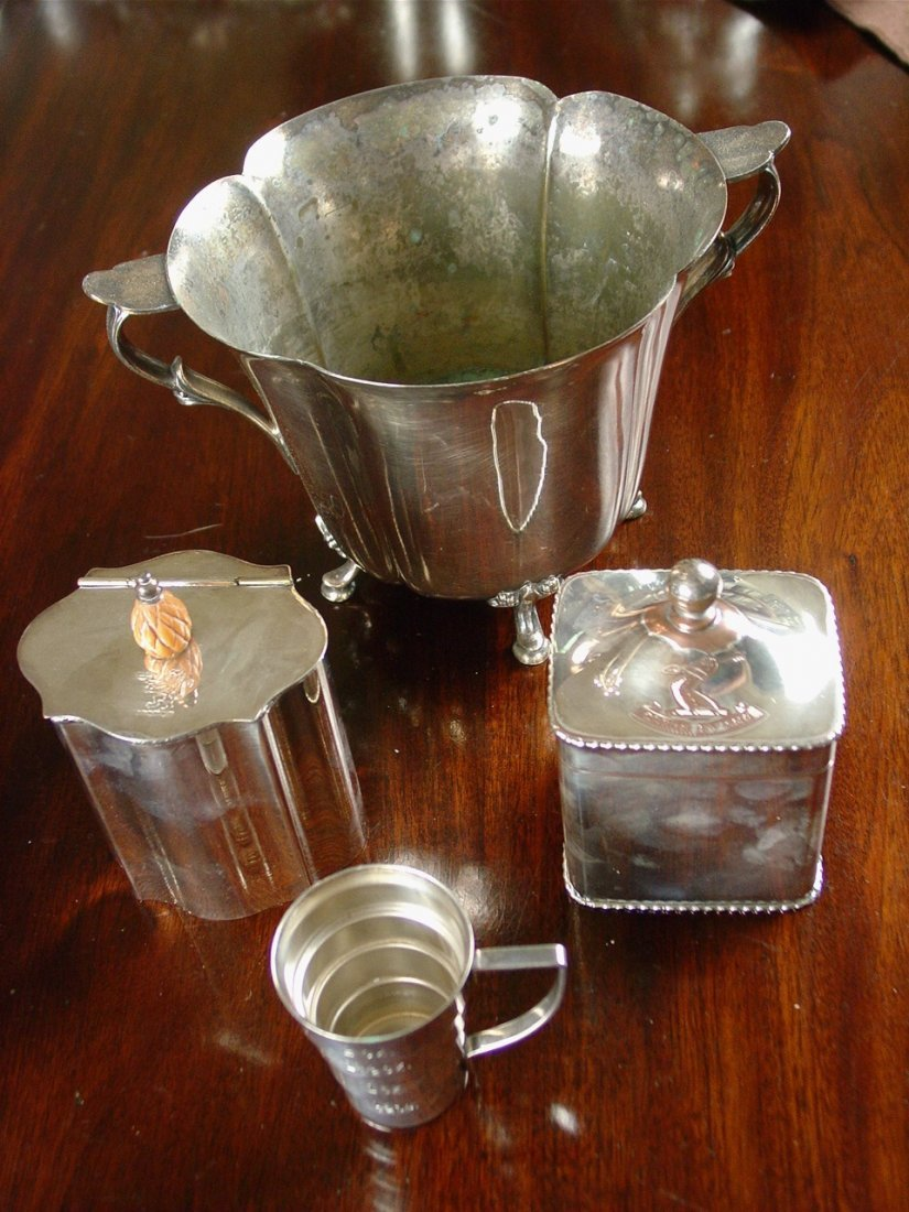 Silver-plate 4 piece set, ice bucket, jigger, sugar and