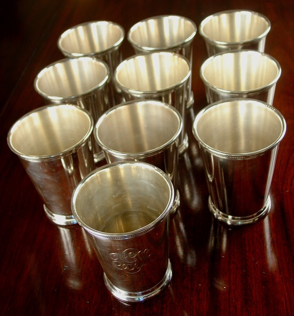 Silver-plate mint julep cups, 11 pieces