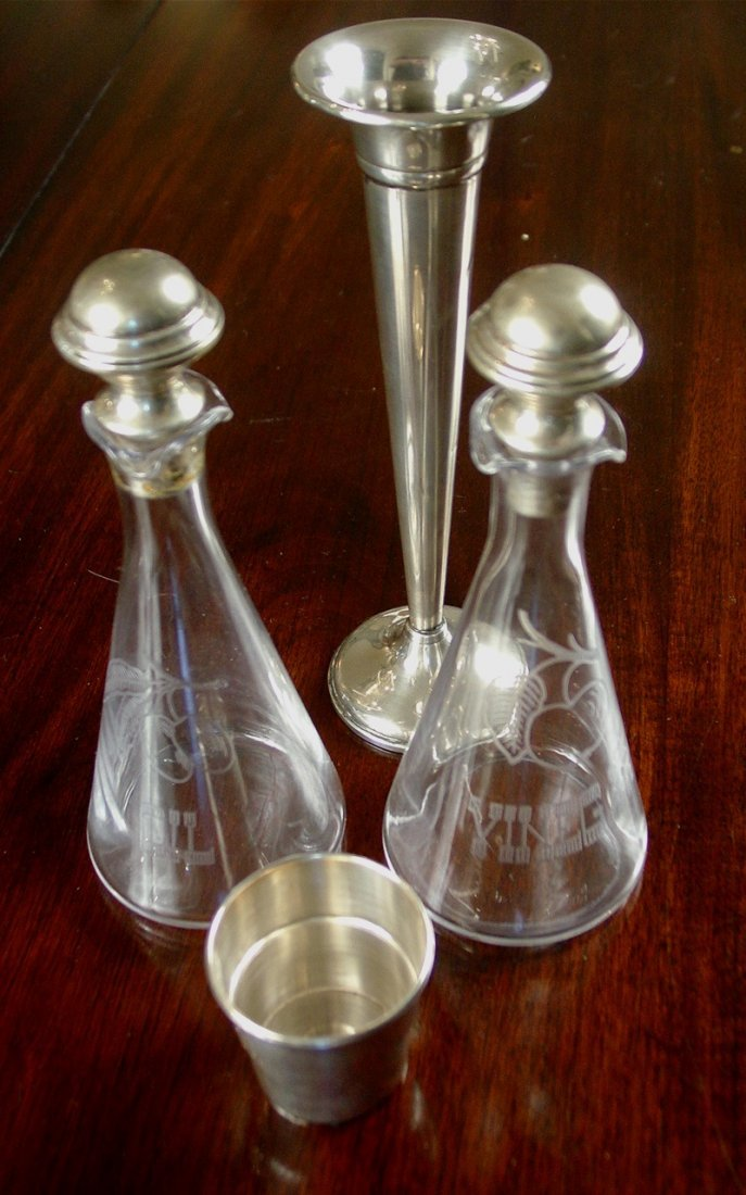 4 pc set sterling, vinegar and oil, jigger and bud