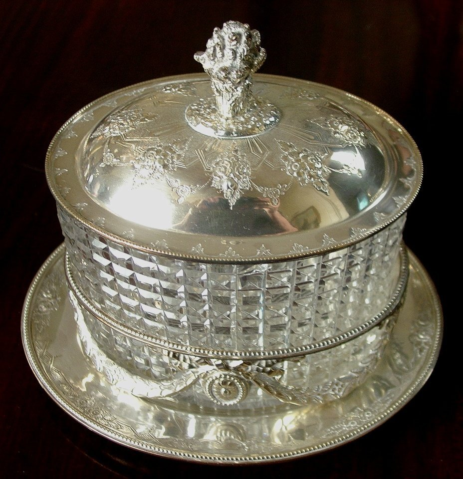 Victorian sterling and glass candy dish with dome, 8in