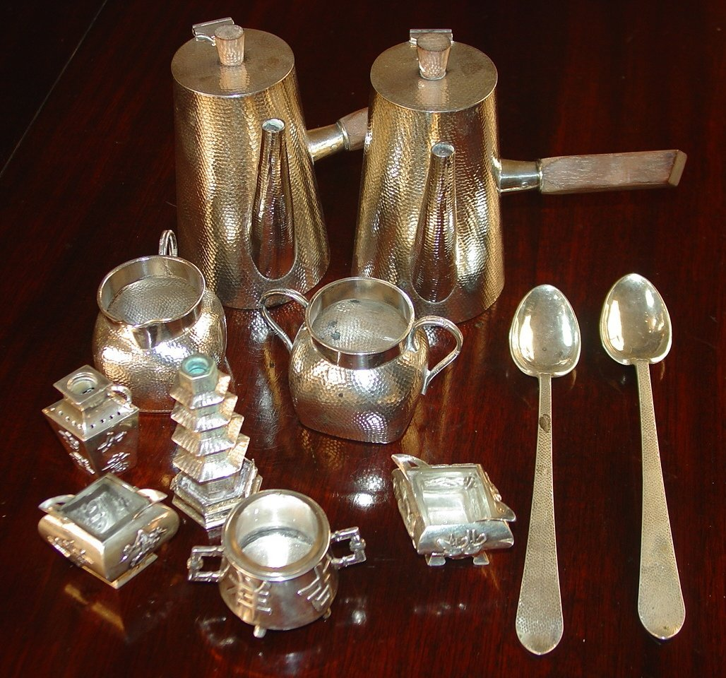 Sterling Chinese hot chocolate set, 11 pc.