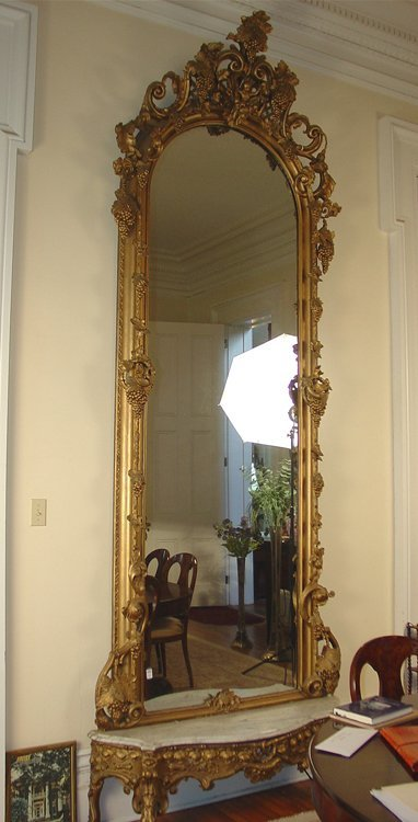 Palatial gold Vict. Pier mirror w marble base, ornate