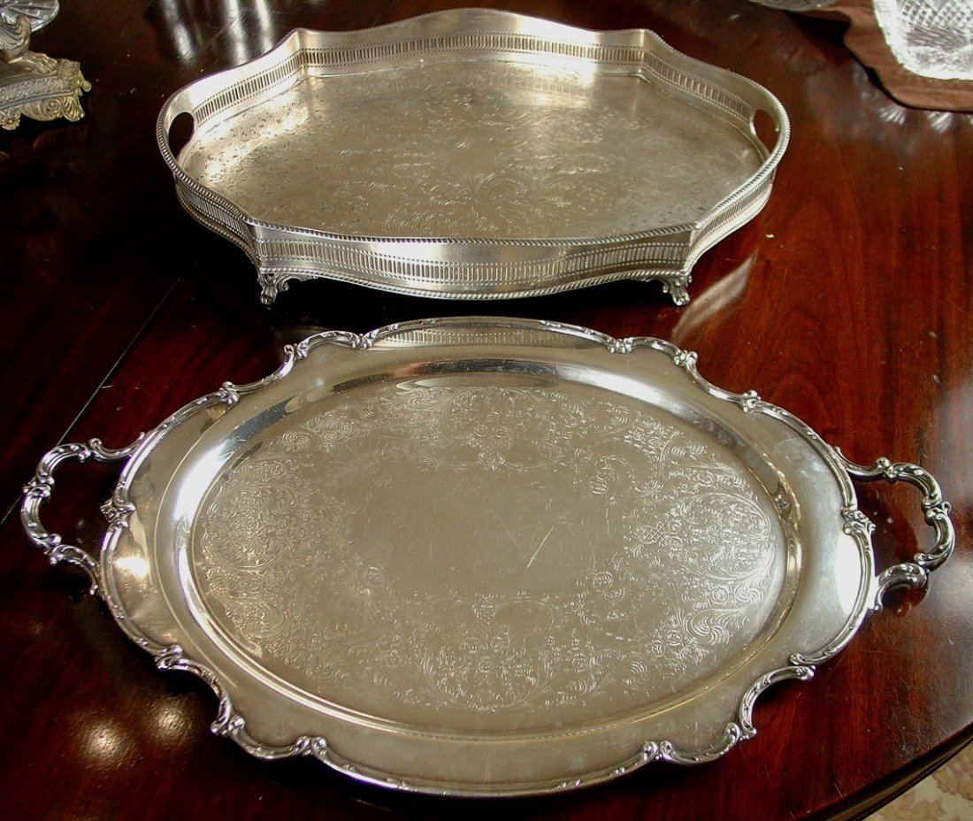 Two Serving Trays, English Sheffield England stamp