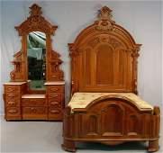 110: Walnut Victorian 3 pc bedroom suite, bed, dresser