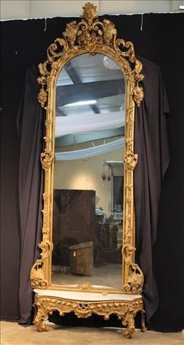 Palatial Gold Victorian Pier Mirror With Marble Base