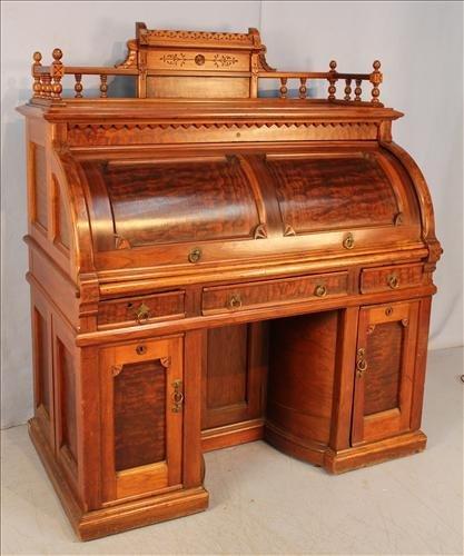 Walnut Vict. cylinder roll Wooten desk
