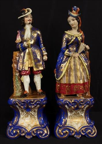 Pair of Old Paris room scenters, French gentleman and