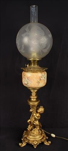 Banquet lamp with figural, has been electrified