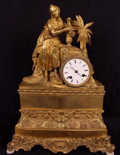 Early French dore bronze mantle clock