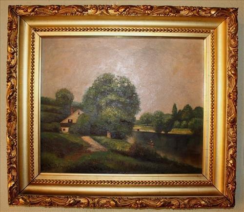 Old Victorian oil on canvas, landscape scene