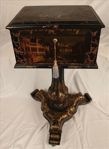 Paper mache Victorian thread box