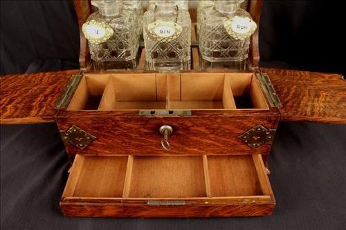 3 piece oak tantalus set