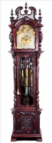 Magnificent mahogany Chippendale grandfather clock,