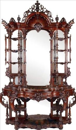 Rare model rosewood rococo etagere with bonnet top