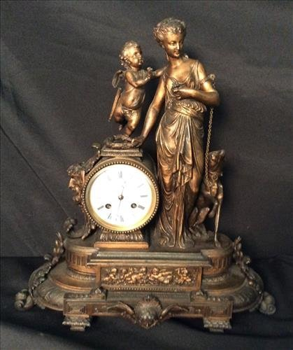 Gold Victorian Mantle Clock with Figurals