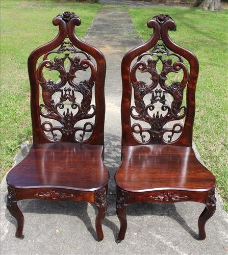 Matched pair rosewood laminated music chairs by J. H. B