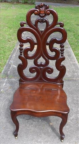 Rare Tall Walnut Music Chair by Belter, one of a kind