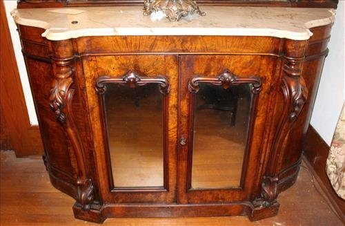 Burl walnut marble top English sideboard