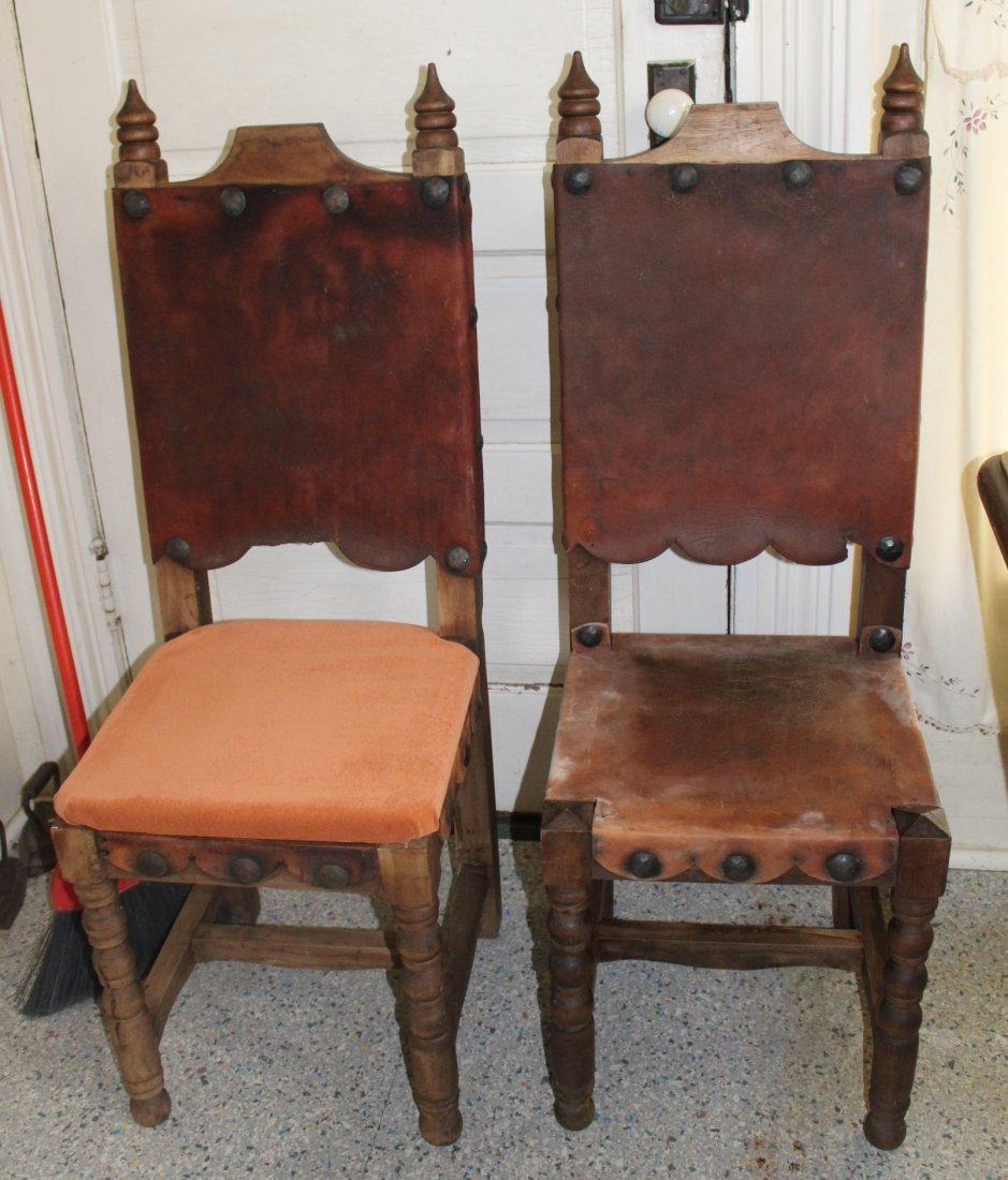 Primitive leather back chairs