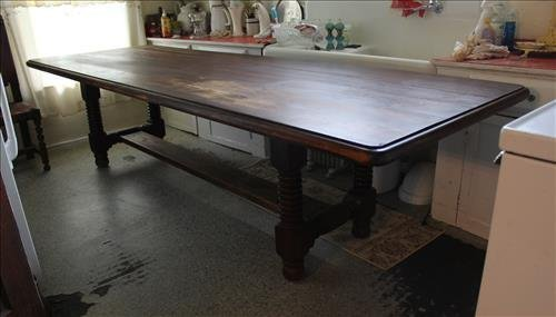 Early harvest table with bee hive legs