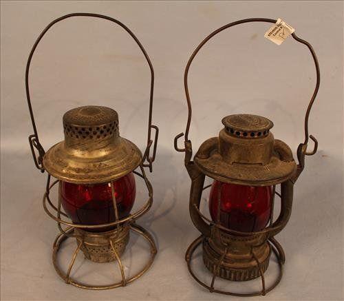 Matched pair of antique railroad lanterns