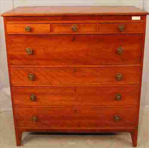 Early 7 drawer cherry chest, 49.5 in. T, 45 in. W.