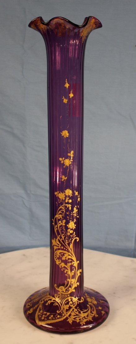 Amethyst oversize Moser stick vase, 24 in. T.