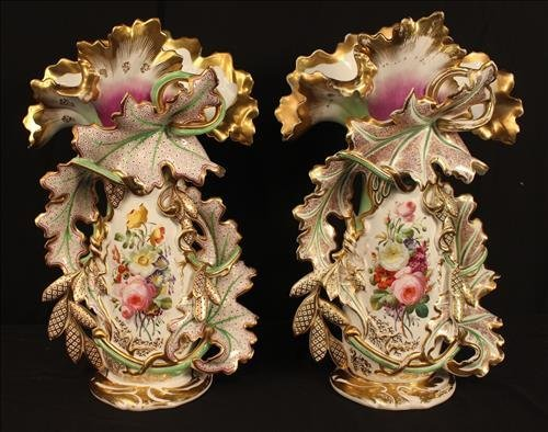Pair of large flared Old Paris vases with floral