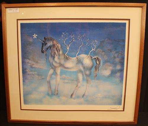 "Lithograph by Salvador Dali, ""Blue Unicorn"""
